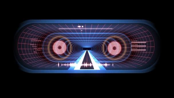 V tunelu z letu prostřednictvím Vr Blue neon Red mřížka fialová světla cyber Hud rozhraní motion grafika animace pozadí nové kvalitní futuristický retro vintage styl cool pěkné krásné video foota