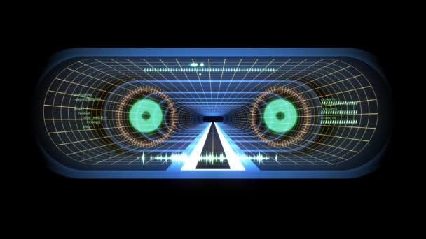 V z letu prostřednictvím Vr modrá neonová žlutá mřížka zelená světla kyber tunel Hud rozhraní motion grafika animace pozadí nový kvalitní retro futuristické vintage styl Super pěkné krásné video foota