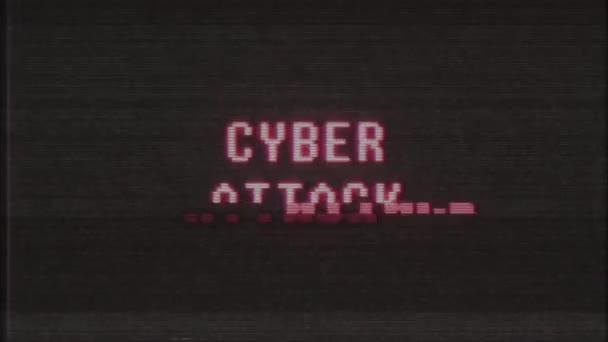 retro videojáték kiber támadás szó szöveg számítógép régi tv fénylik zavaró zaj képernyő animáció varrat nélküli hurok új minőségű univerzális évjárat-motion dinamikus animációs háttér színes örömteli videó