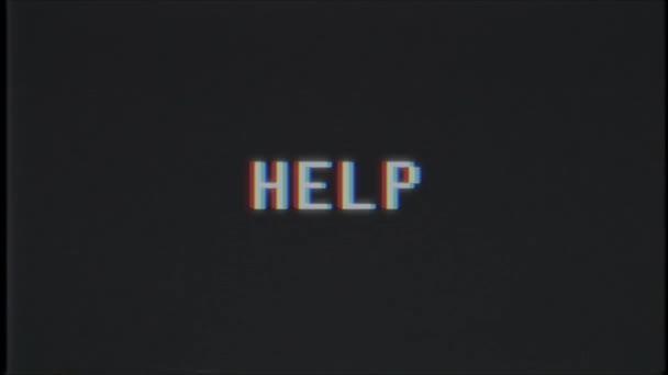 Retro videoherní pomoc slovo text počítače staré tv závada rušení hluku obrazovky animace bezešvé smyčka nový kvalitní univerzální vintage pohybu dynamický animovaný pozadí barevné video m