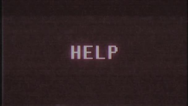 retro videogame hilfe wort text computer alt tv glitch störung rauschen bildschirm animation nahtlose schleife neue qualität universal vintage motion dynamisch animierter hintergrund bunt video m