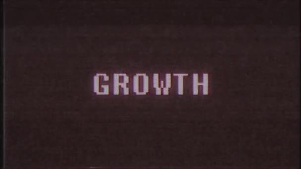 Retro videoherní růst slovo text počítače staré tv závada rušení hluku obrazovky animace bezešvé smyčka nový kvalitní univerzální vintage pohybu dynamický animovaný pozadí barevné video m