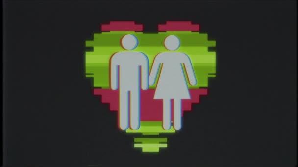 einfaches Familie Herz Symbol Glitch Bildschirm Verzerrung Vhs Tv anzeigen Animation nahtlose Schleife Hintergrund neue universelle Qualität hautnah Vintage dynamische animierte bunte fröhliche cool schön Videomaterial