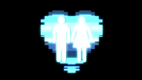 einfach Familie Herz Symbol Panne Bildschirm Verzerrung holographische Anzeige Animation nahtlose Schleife Hintergrund neue Qualität universal close up vintage dynamisch animiert bunt freudig cool schön video