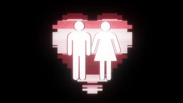 einfaches Familie Herz Symbol Glitch Bildschirm Verzerrung Kamera anzeigen Animation nahtlose Schleife Hintergrund neue universelle Qualität hautnah Vintage dynamische animierte bunte fröhliche cool schön Videomaterial