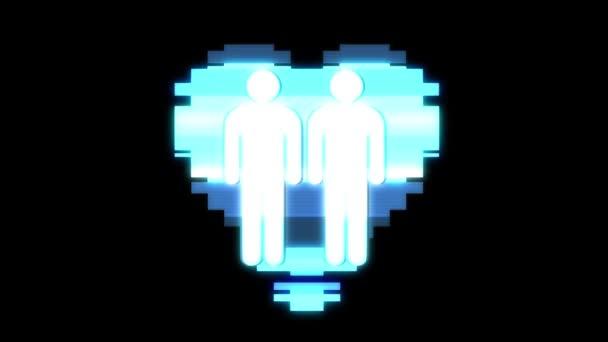 einfache schwules paar Familie Herz Symbol Glitch Bildschirm Verzerrung holographischen Display Animation nahtlose Schleife Hintergrund neue Qualität universal Nahaufnahme Vintage dynamische animierte bunte fröhliche cooles video