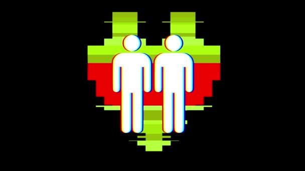 einfache schwules paar Familie Herz Symbol Glitch Bildschirm Verzerrung anzeigen nahtlose Schleife Hintergrund neue universelle Qualität hautnah Vintage dynamische animierte bunte fröhliche cool schönes Video animation