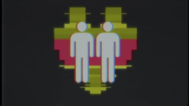 einfache schwules paar Familie Herz Symbol Glitch Bildschirm Verzerrung Vhs Tv anzeigen Animation nahtlose Schleife Hintergrund neue Qualität universal Vintage dynamische animierte bunte fröhliche Cool schöne Nahaufnahme