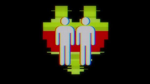 einfach homosexuell paar familie herz symbol glitch bildschirm verzerrung lcd display animation nahtlose schleife hintergrund neue qualität universal close up vintage dynamisch animiert bunt freudig cool schön video