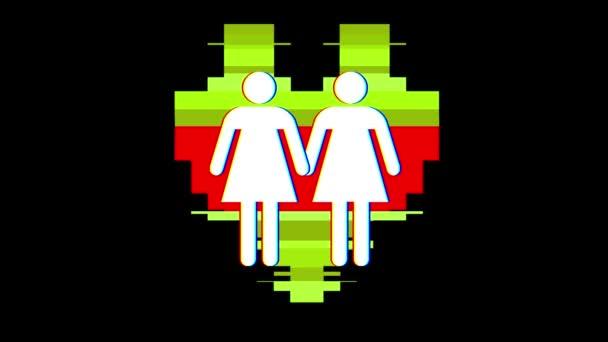 jednoduchý homosexuální pár rodinných srdce symbol závada zkreslení zobrazení animace bezešvé smyčka pozadí nové kvalitní univerzální zblízka vintage dynamické animované barevné radostné pohodě pěkné video