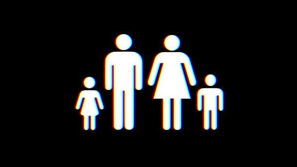 volle Familiensymbol Störschub Verzerrung Display Animation nahtlose Schleife Bildschirmhintergrund - animiert neue Qualität Universal nah bis Jahrgang dynamische bunten fröhlichen cool schön Videomaterial