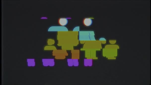 volle Familiensymbol Glitch Vhs Tv Verzerrung Bildschirm Animation nahtlose Schleife Hintergrund - universal neue Qualität hautnah Vintage dynamische animierte bunte fröhliche cool schön Videomaterial