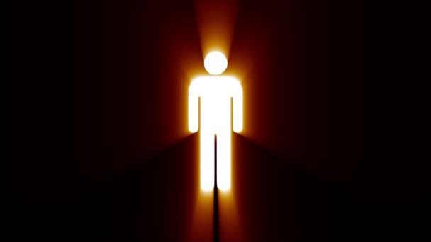 einfache Mann Symbol Panne Bildschirm Verzerrung Lichtstrahlen Anzeige Animation nahtlose Schleife Hintergrund - neue Qualität universal close up vintage dynamisch animiert bunt freudig cool schön video
