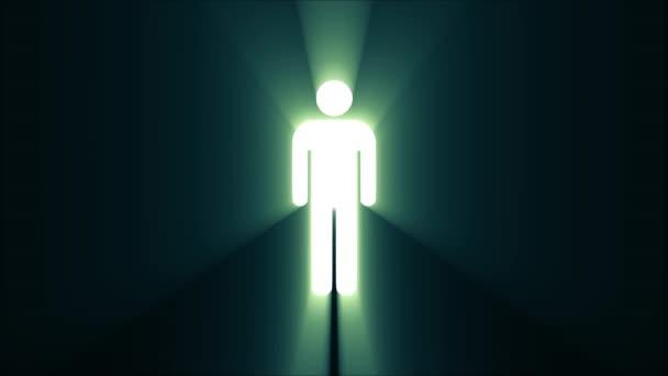 einfacher Mann Symbol Glitch Bildschirm Verzerrung Lichtstrahlen anzeigen Animation nahtlose Schleife Hintergrund - neue Qualität Universal nah bis Jahrgang dynamische animierte buntes fröhliches cooles schönes video