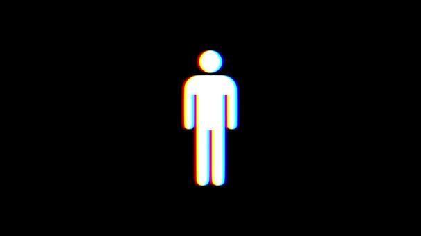einfacher Mann Symbol Störschub Verzerrung Display Animation nahtlose Schleife Bildschirmhintergrund - animiert neue Qualität Universal nah bis Jahrgang dynamische bunten fröhliches cooles schönes video