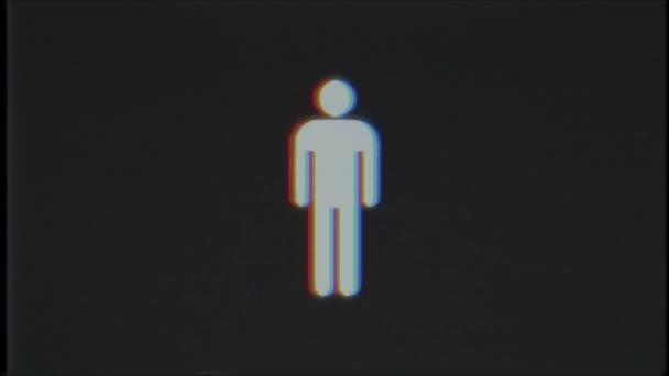 einfacher Mann Symbol Glitch Bildschirm Verzerrung Vhs Tv display Animation nahtlose Schleife Hintergrund - universal neuer Qualität hautnah Vintage dynamische animierte bunte fröhliche cool schönes video