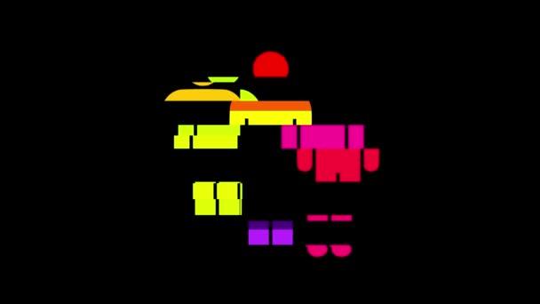 einfache Regenbogen Mann Symbol Störschub Verzerrung Display Animation nahtlose Schleife Bildschirmhintergrund - universal neuer Qualität hautnah Vintage dynamische animierte bunte fröhliche cool schönes video