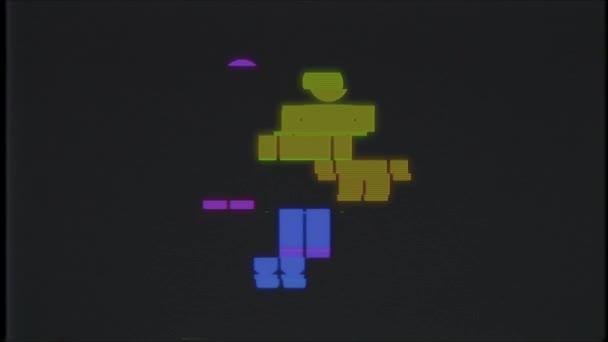 einfache Regenbogen Mann Symbol Glitch Bildschirm Verzerrung Vhs Tv display Animation nahtlose Schleife Hintergrund - universal neuer Qualität hautnah Vintage dynamische animierte bunte fröhliche cool schönes video