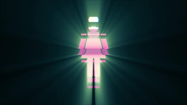 einfache Frau Symbol Glitch Bildschirm Verzerrung Lichtstrahlen anzeigen Animation nahtlose Schleife Hintergrund - neue Qualität Universal nah bis Jahrgang dynamische animierte buntes fröhliches cooles schönes video