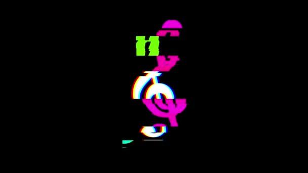 Musik Violinschlüssel Symbol Glitch Bildschirm Verzerrung anzeigen nahtlose Schleife Hintergrund neue universelle Qualität hautnah Vintage dynamische animierte bunte fröhliche cool schönes Video animation