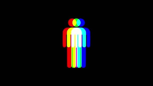 RGB-Mann menschlichen Symbol sammeln Lichtstrahlen anzeigen isoliert Hintergrund - universal neue Qualität hautnah Vintage dynamische animierte bunte fröhliche cool schönes Video animation