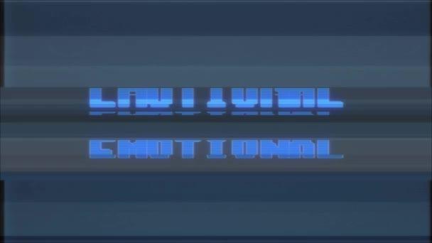 retro videojáték érzelmi szó szöveg számítógép régi tv fénylik zavaró zaj képernyő animáció varrat nélküli hurok új minőségi egyetemes évjárat-motion dinamikus animációs háttér színes örömteli videóinak m
