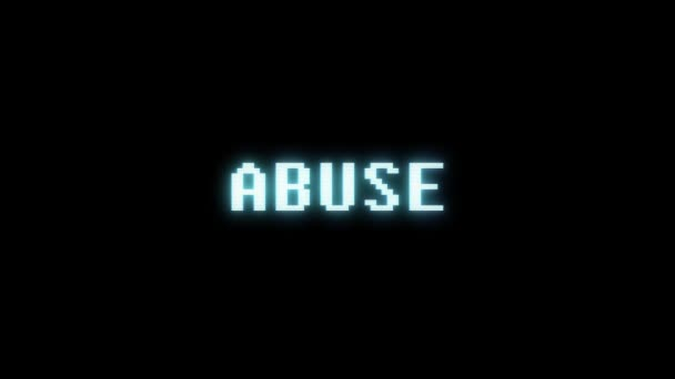 retro videogame ABUSE word text computer old tv glitch interference noise screen animation seamless loop New quality universal vintage motion dynamic animated background colorful joyful video m