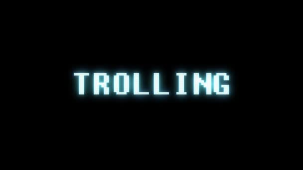 retro videogame TROLLING word text computer old tv glitch interference noise screen animation seamless loop New quality universal vintage motion dynamic animated background colorful joyful video m