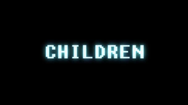 retro videogame CHILDREN word text computer old tv glitch interference noise screen animation seamless loop New quality universal vintage motion dynamic animated background colorful joyful video m