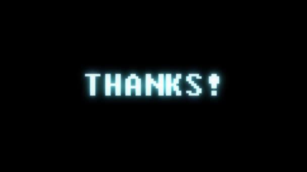 Retro videoherní díky slovo text počítač tv závada rušení hluku obrazovku animace bezešvé smyčka nový kvalitní univerzální vintage pohybu dynamický animovaný pozadí barevné radostné video m