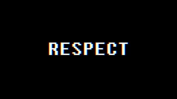 Retro videoherní respekt slovo text počítač tv závada rušení hluku obrazovku animace bezešvé smyčka nový kvalitní univerzální vintage pohybu dynamický animovaný pozadí barevné radostné video m