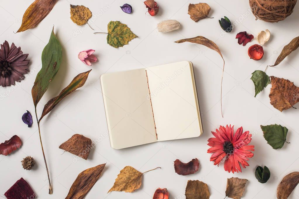 Autumn background: composition of fallen leaves, dried plants and flowers on white with small notebook with yellow paper. Top view. Flat lay.