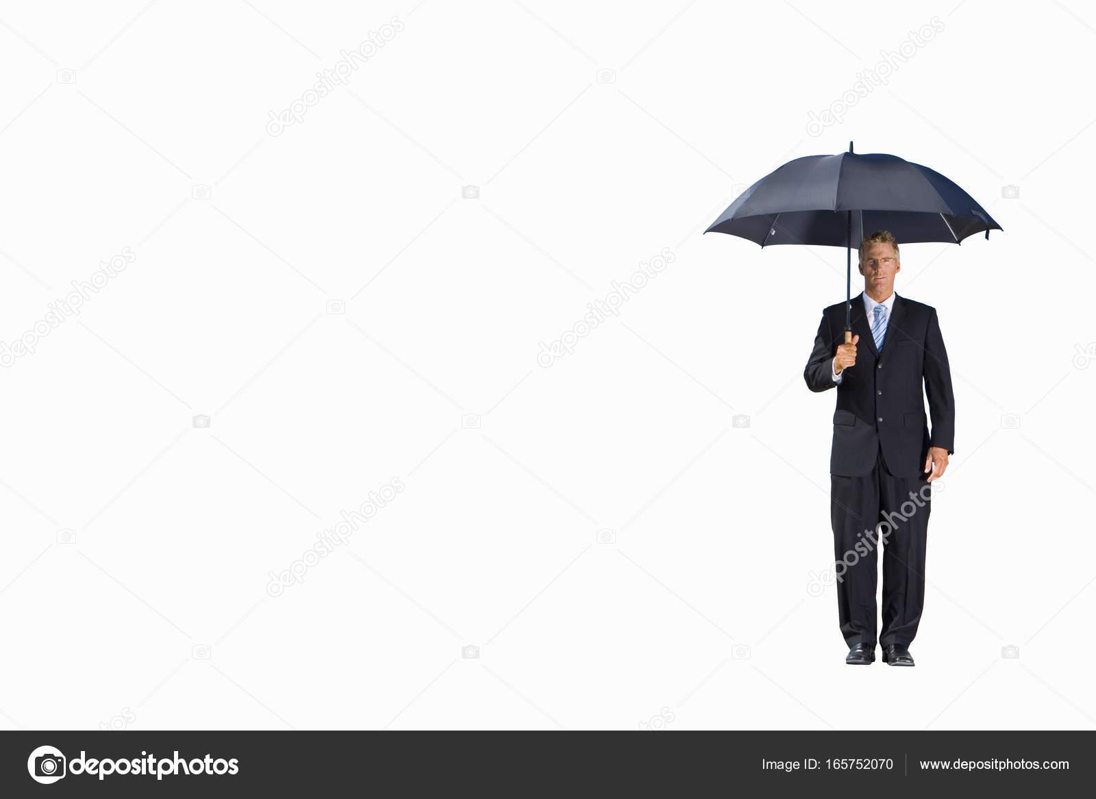 Businessman Umbrella Portrait Cut Out Stock Photo