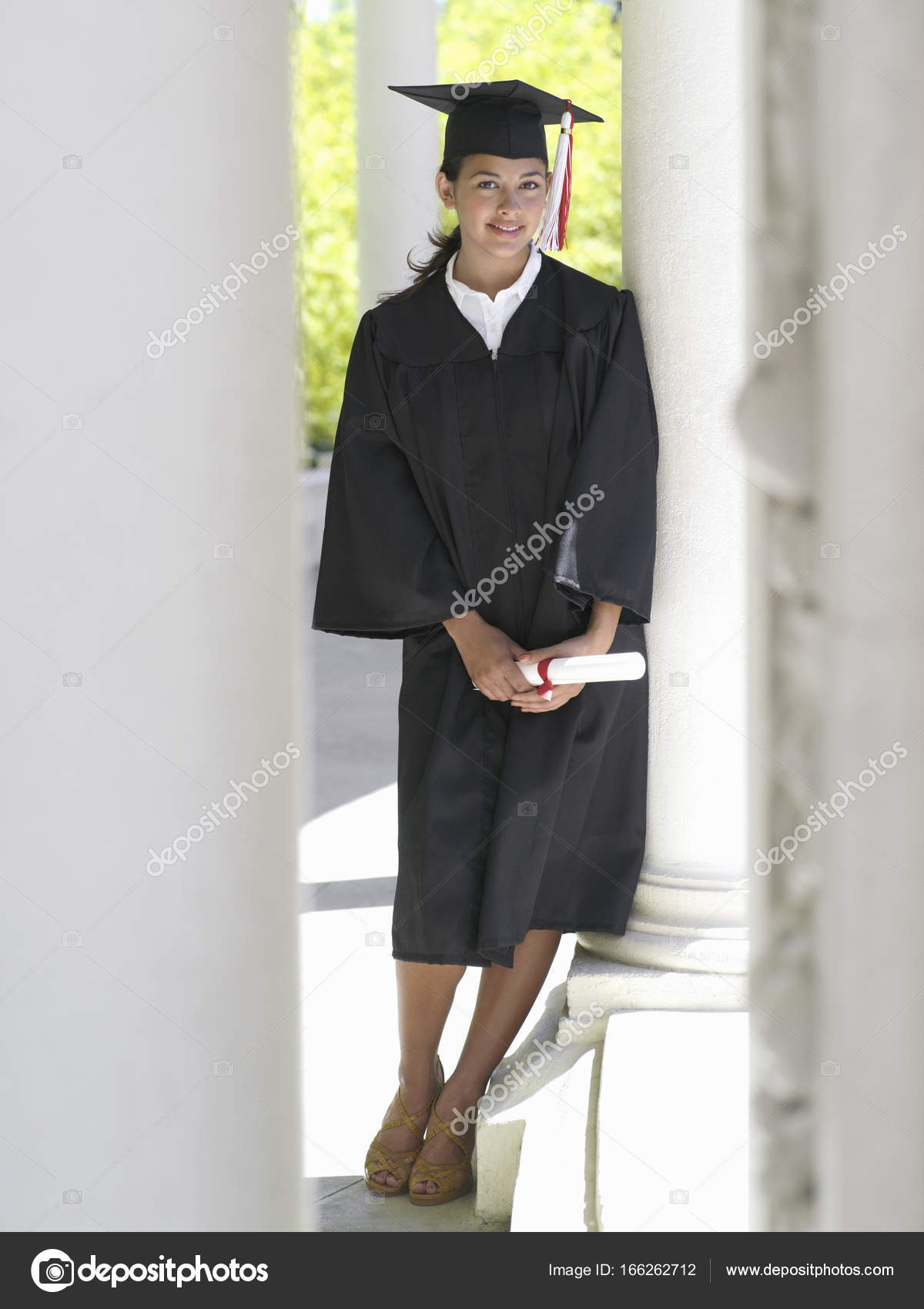 University Student Graduation Gown Mortar Board Holding Diploma ...