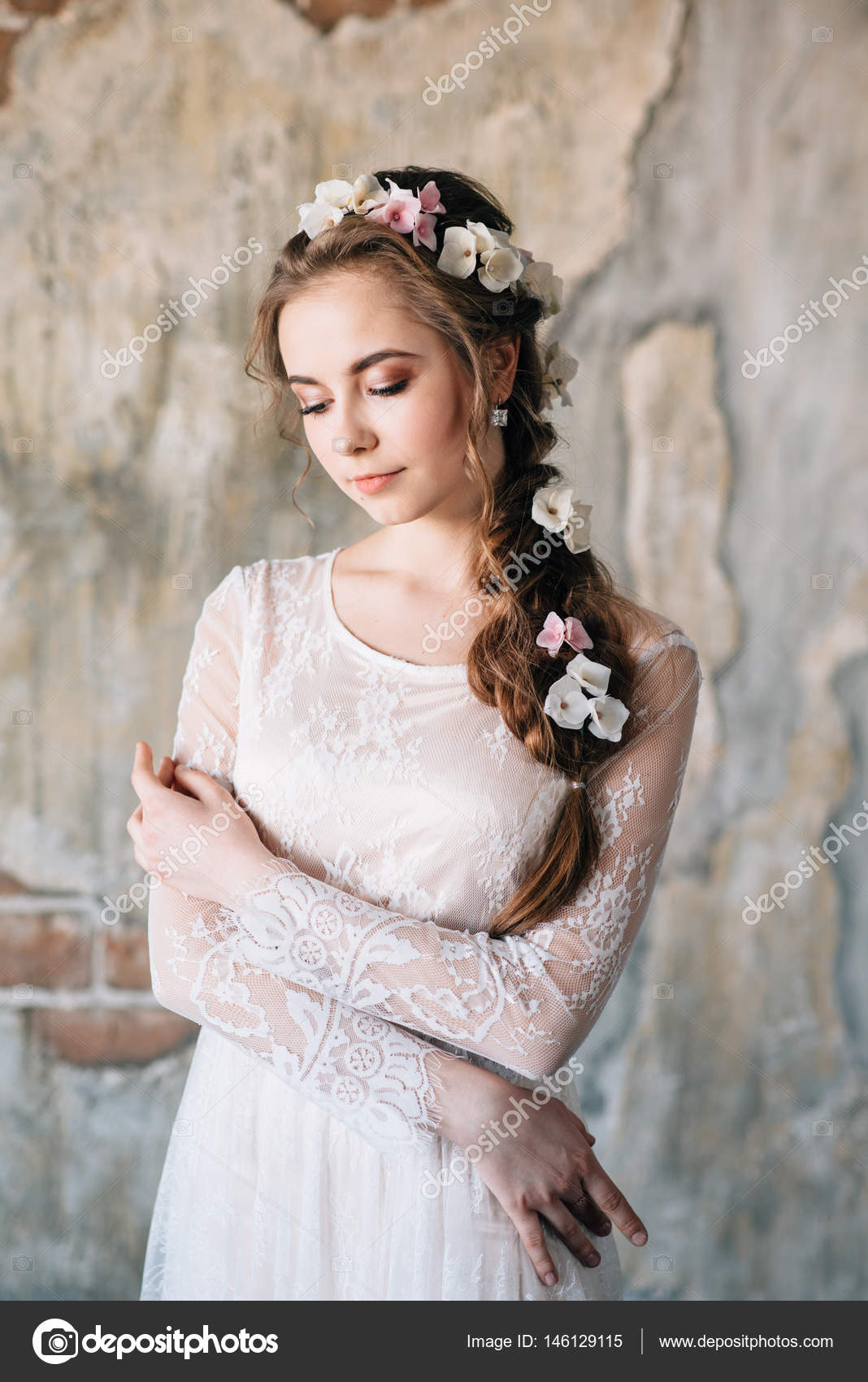 Beautiful Young Bride To Evening Hairstyle And Luxurious Dress