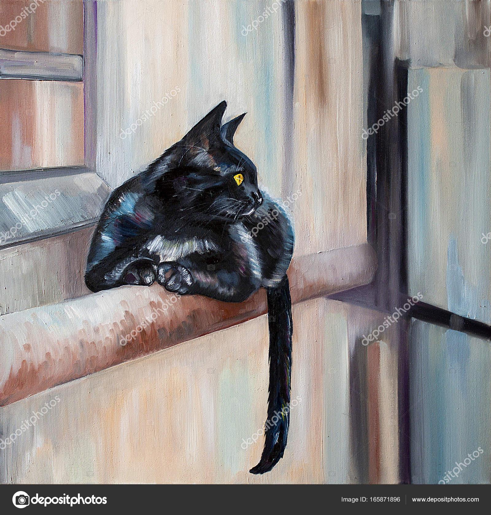 Kara Kedi Yağlıboya Resim Stok Foto Viarti23 165871896