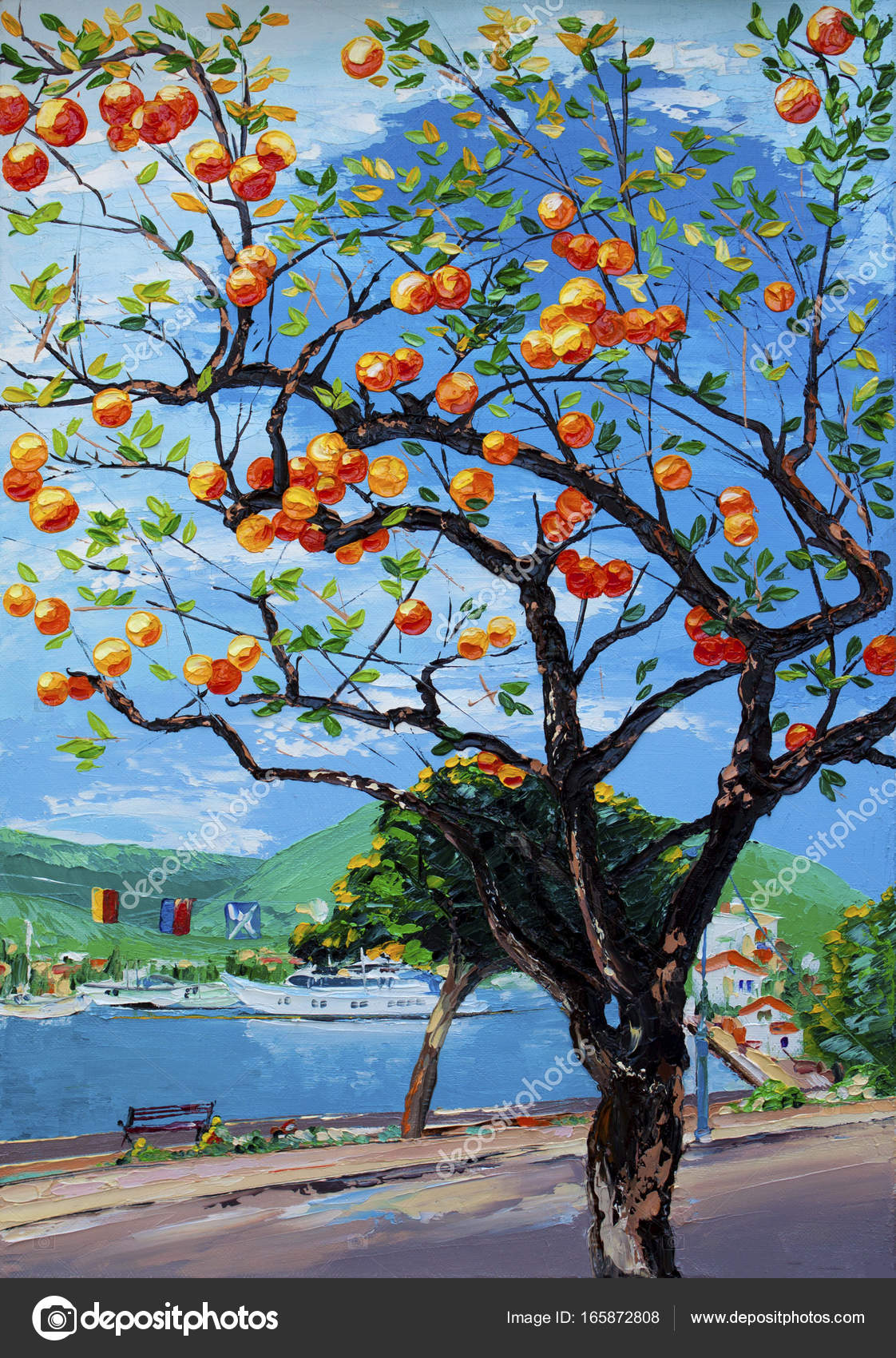 Orange Tree Oil Painting In Greece Stock Photo C Viarti23 165872808