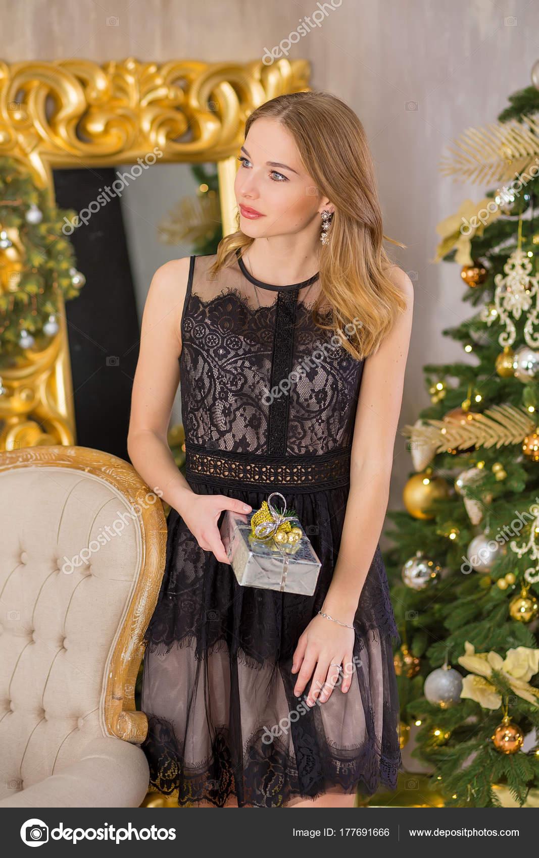 Beauty Fashion Woman Christmas Background New Year Tree Vogue Style
