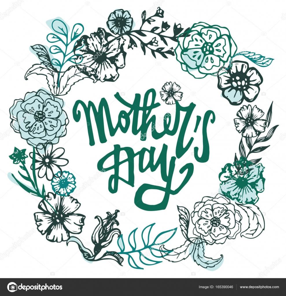 Bandera dibujada mano con marco de día de la madre. Vintage grunge ...