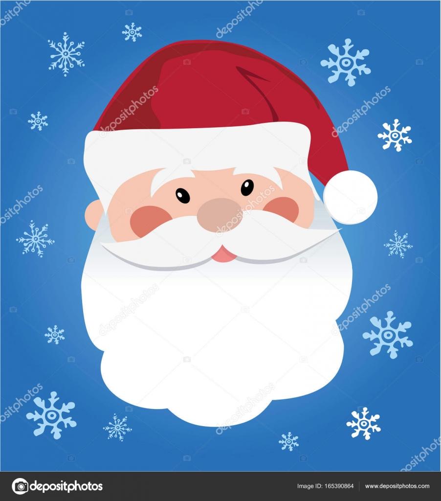 Santa Claus Icon Santa Claus Face In Flat Design Christmas Card