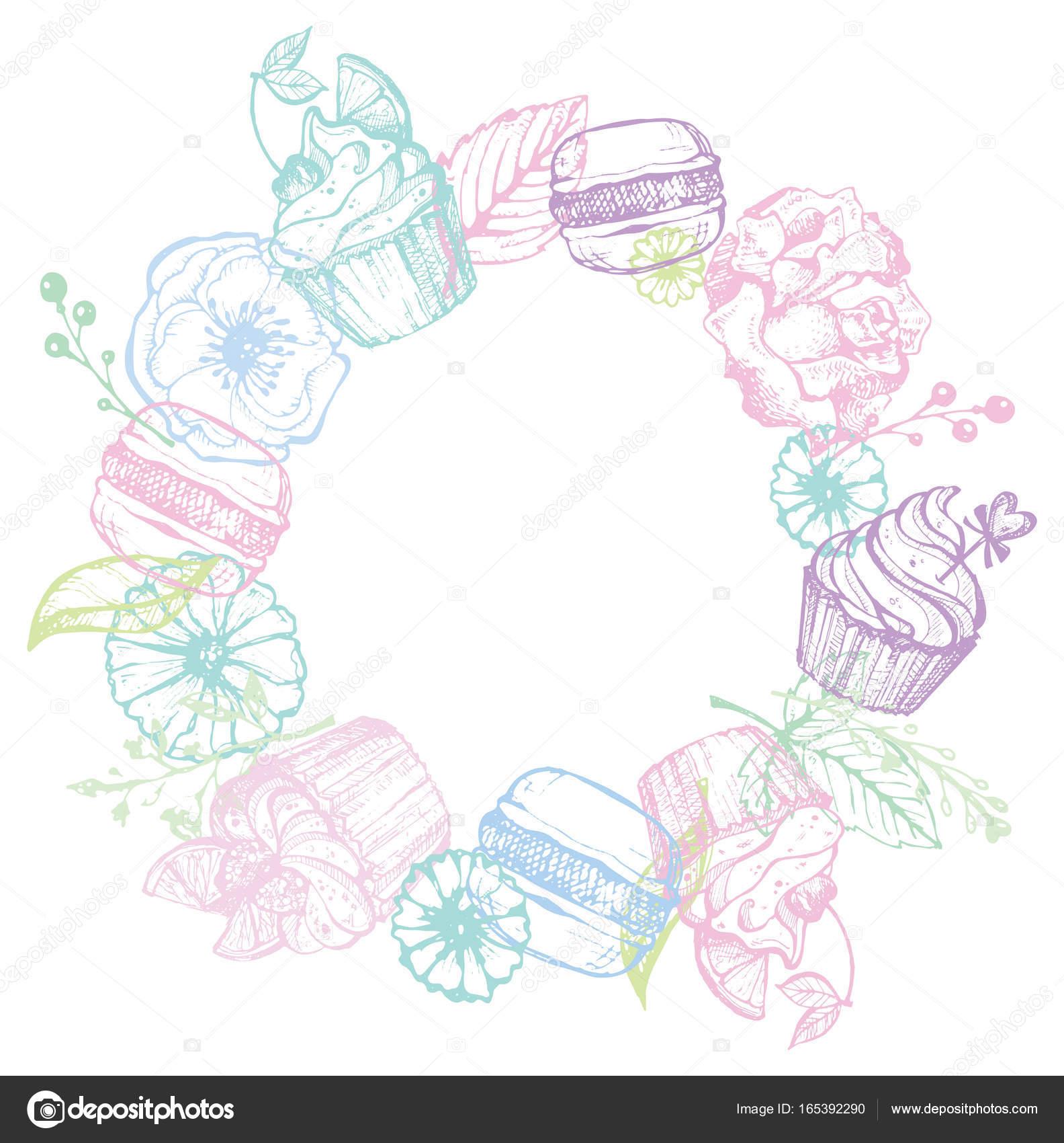 Hand gezeichnet Doodle Rahmen mit Blumen, Cupcakes und Makronen ...