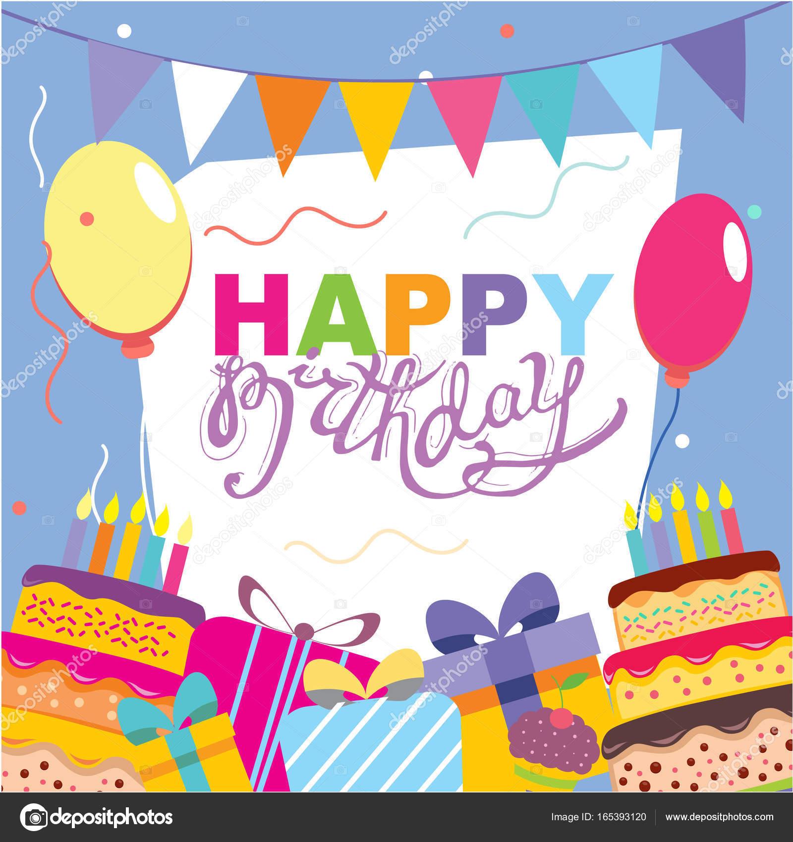 happy birthday vector card hand drawn vector illustration