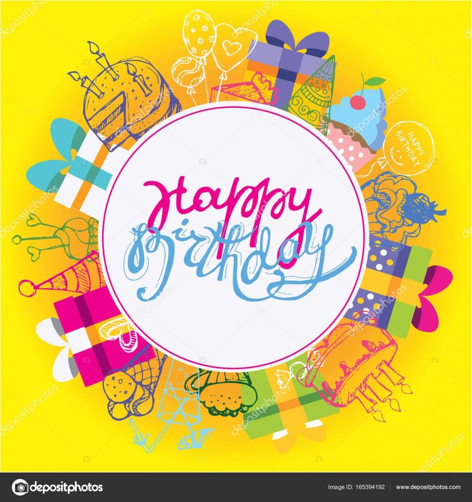 Vectores Invitacion Cumpleaños Originales Mano Feliz