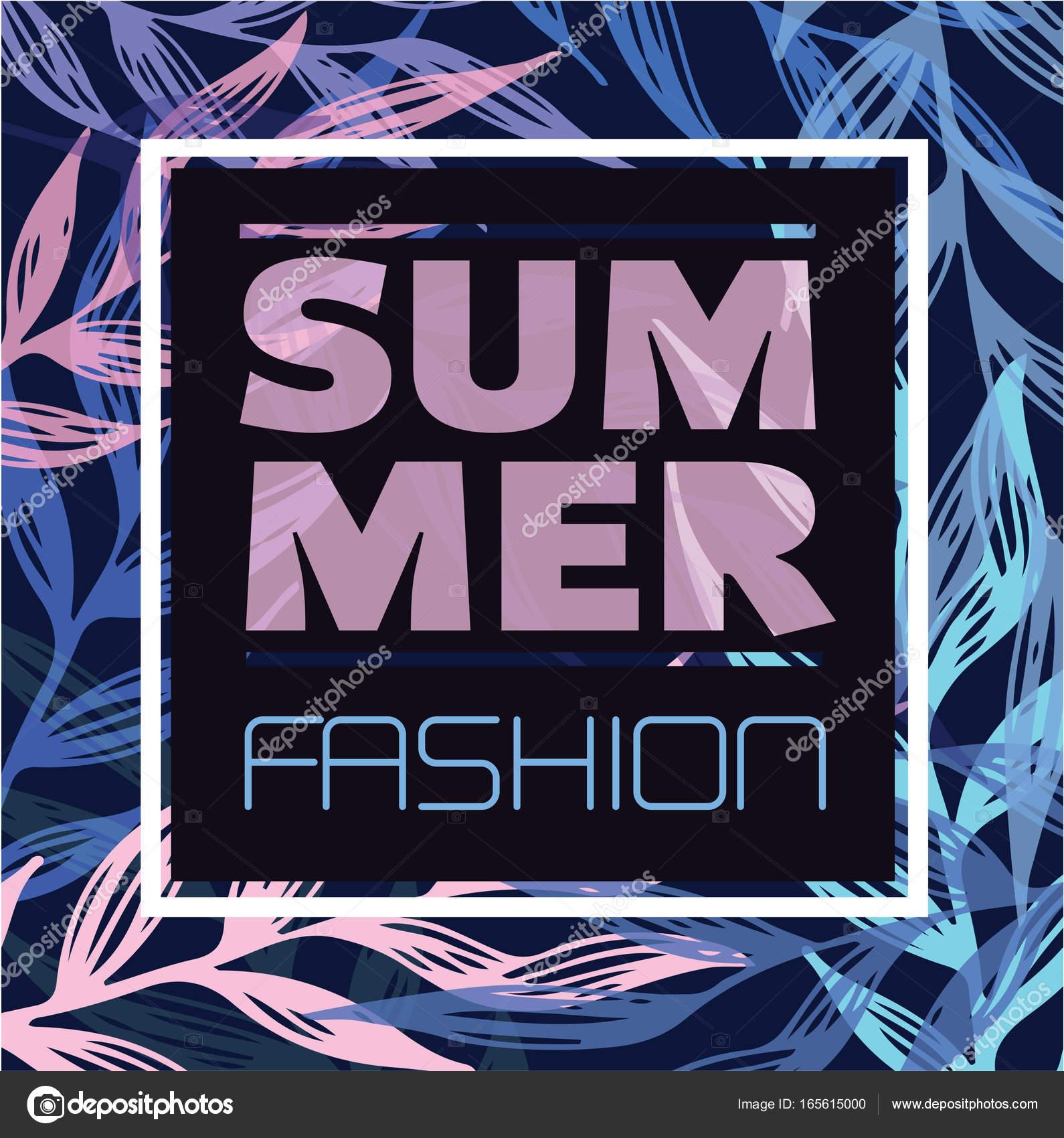 Summer fashion poster  Decoration frame  Tropic background