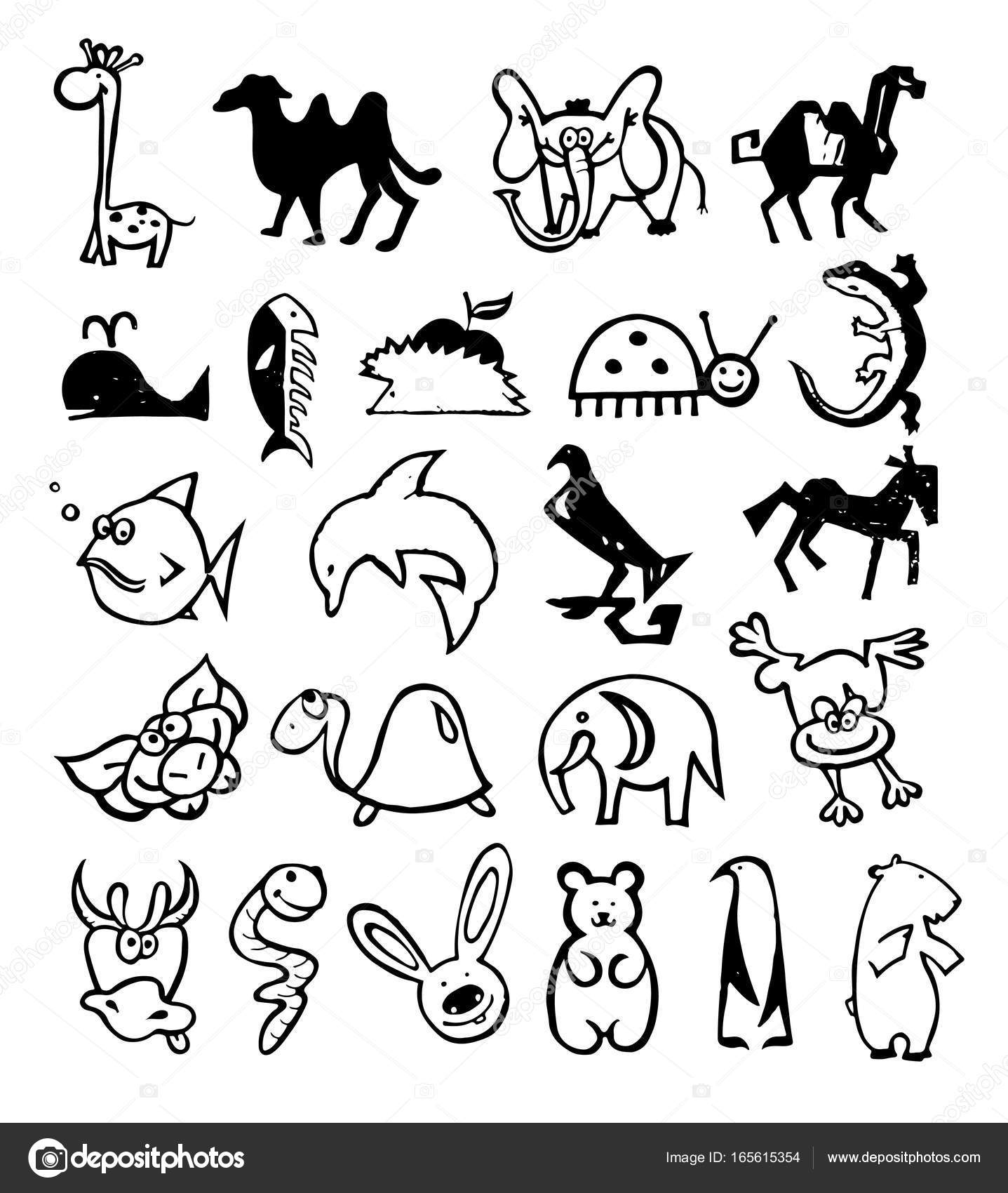手描き落書きの概念のロゴ。漫画キャラクターの動物 — ストックベクター