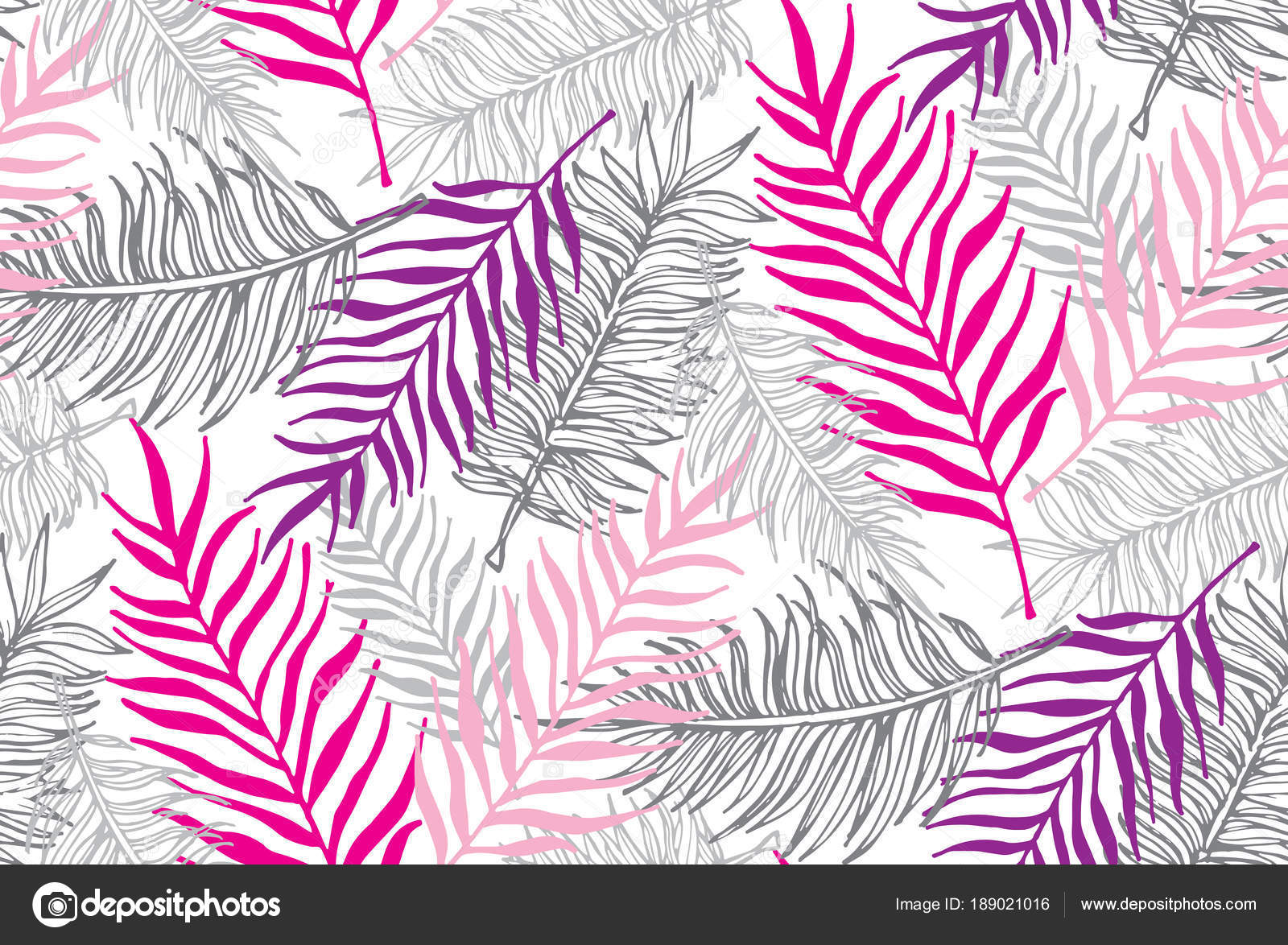 hand drawn doodle palm tree leaves pattern stock vector jane55