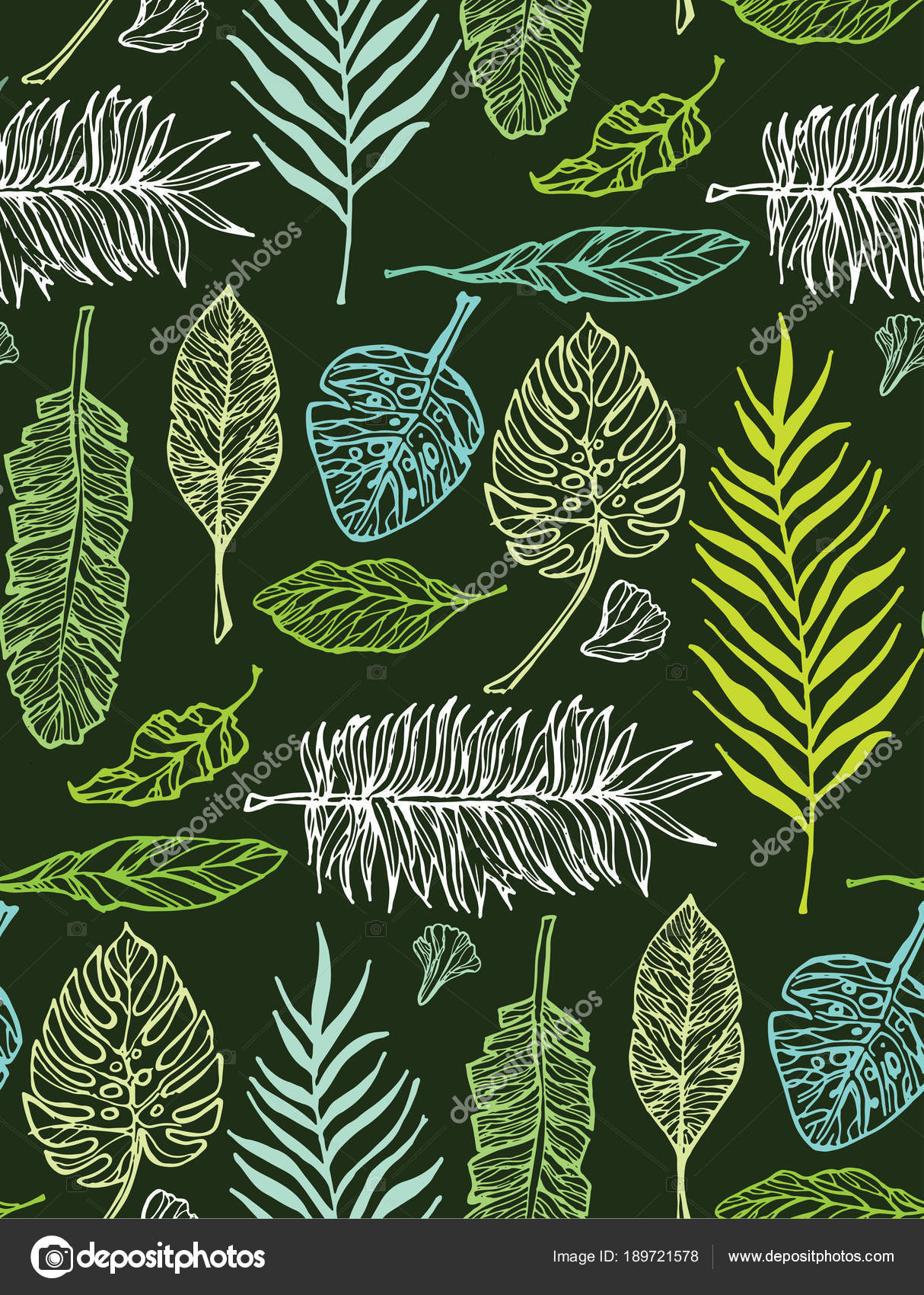 Doodle Tropical Leaves Hand Drawn Doodle Tropical Leaves Pattern Stock Vector C Jane55 189721578 Perfect for wedding, invitations purchased item: depositphotos