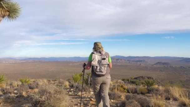 Woman Hiker Coming Down The Hill Along The Trail In The Mojave Desert, Rear View