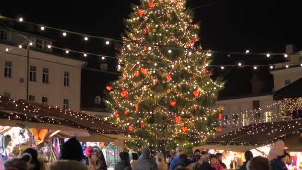 Tallinn, Estonia-December 25,2017: Holiday Fair With Christmas Tree Night Lights