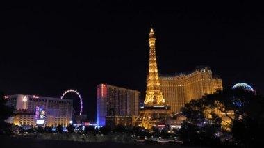 Las Vegas, USA-November 07,2017: Night Neon Lights Las Vegas Paris Hotel Casino
